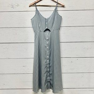Oh My Love Checkered Button Front Midi Dress Sz L